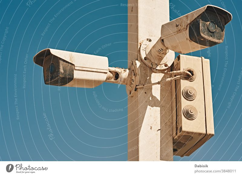 Security and video control CCTV camera, closeup. Surveillance and monitoring concept security system safety cctv surveillance electronic outdoor protection