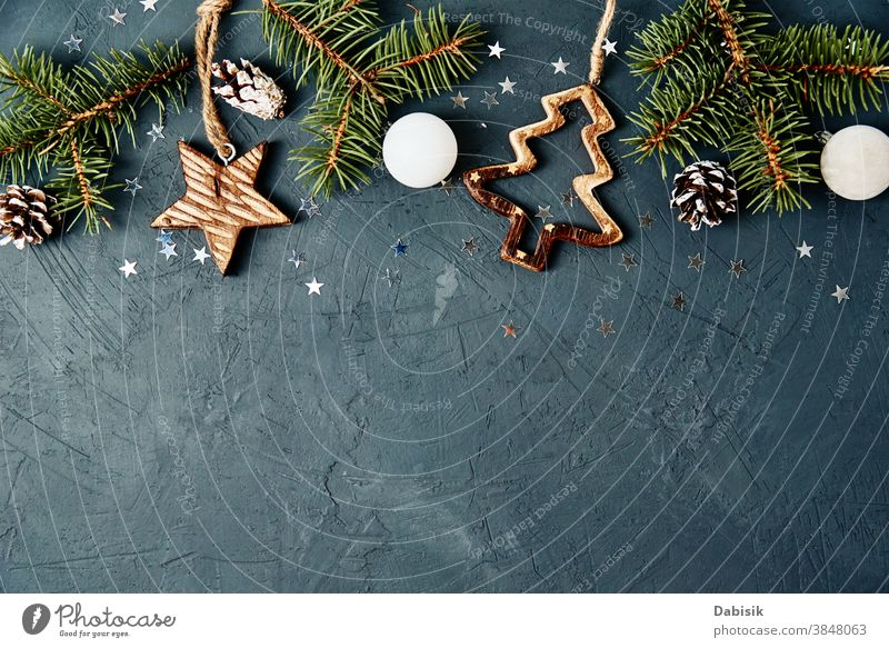 Christmas or New Year background with copy space. Christmas decorations on dark background, top view christmas card holiday new year vintage xmas composition