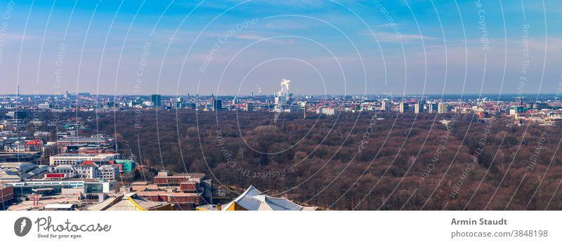 panorama of Berlin with the Tiergarten park in front berlin tiergarten skyline germany europe tourism architecture cityscape landmark travel urban street tower