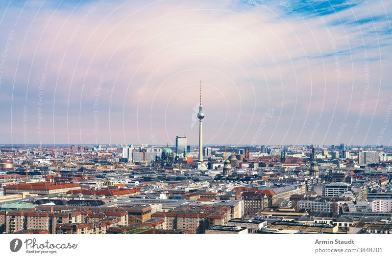 panorama of Berlin with tv tower and Berliner Dom fernsehturm dom cathedral church berlin germany europe tourism architecture cityscape landmark travel urban