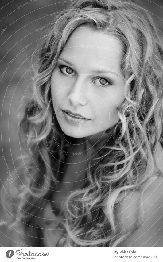 young woman with curly hair, black and white portrait pretty Woman Young woman Adults Long-haired Blonde Beauty & Beauty Feminine Hair and hairstyles Face