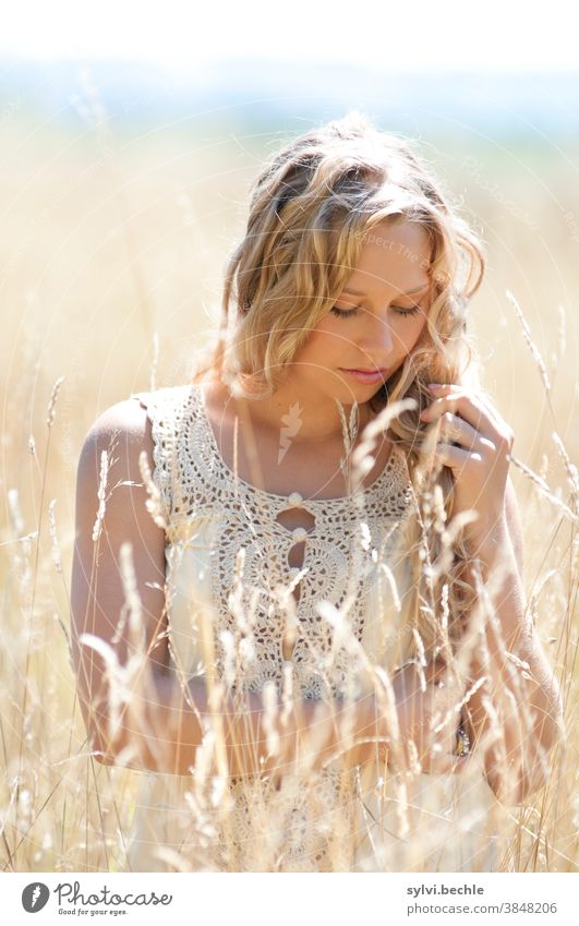 young woman in the field in delicate cream tones pretty Woman Young woman portrait Adults Long-haired Blonde Beauty & Beauty Feminine Hair and hairstyles Face
