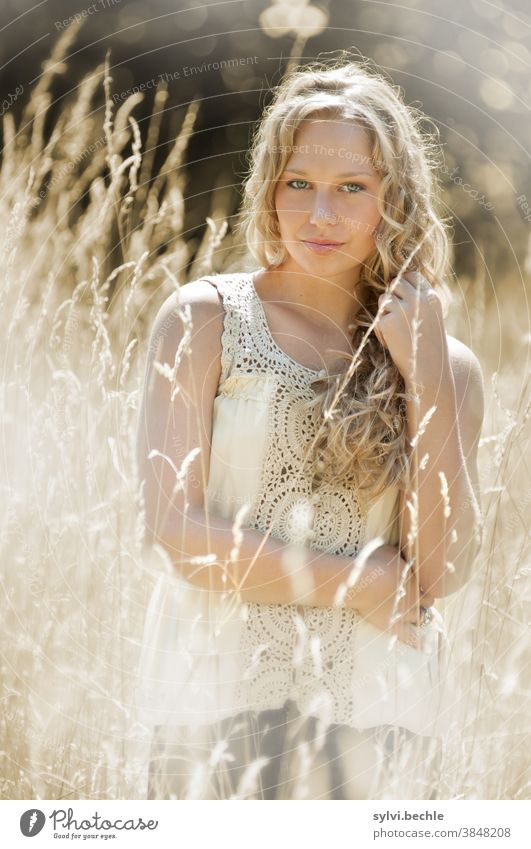 young woman in the field in delicate cream tones - Part III pretty Woman Young woman portrait Adults Long-haired Blonde Beauty & Beauty Feminine