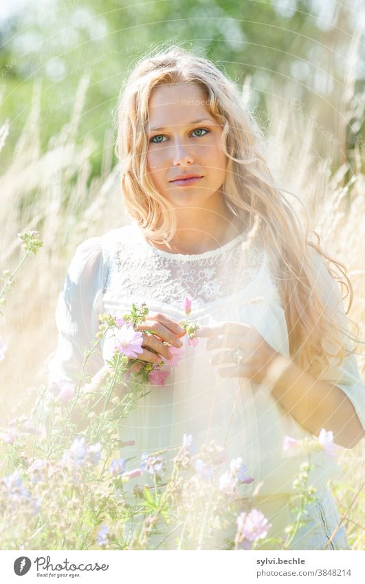 Young woman in the field in delicate cream tones - Part II pretty Woman portrait Adults Long-haired Blonde Beauty & Beauty Feminine Hair and hairstyles Face