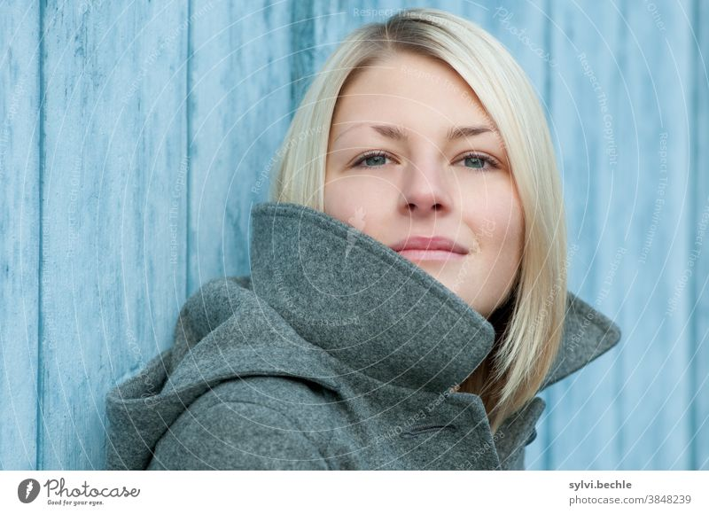 Portrait of a young woman portrait Young woman Woman youthful Lady Girl Autumn Winter Jacket chill Cold Blue Gray Beauty & Beauty Blonde Long-haired