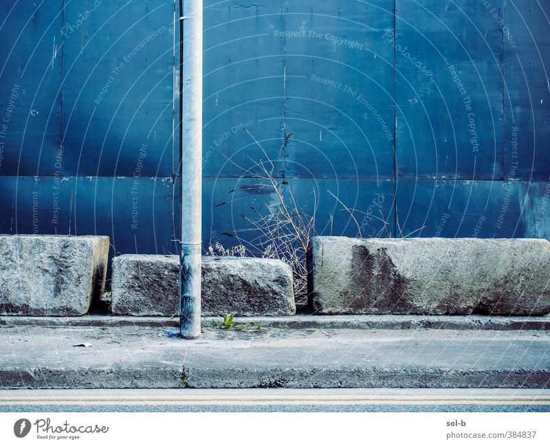 dport | Street Town Wall (barrier) Wall (building) Blue Gray Sadness Loneliness Cold Road marking Street lamp Pole Concrete block Stone Pavement Sidewalk
