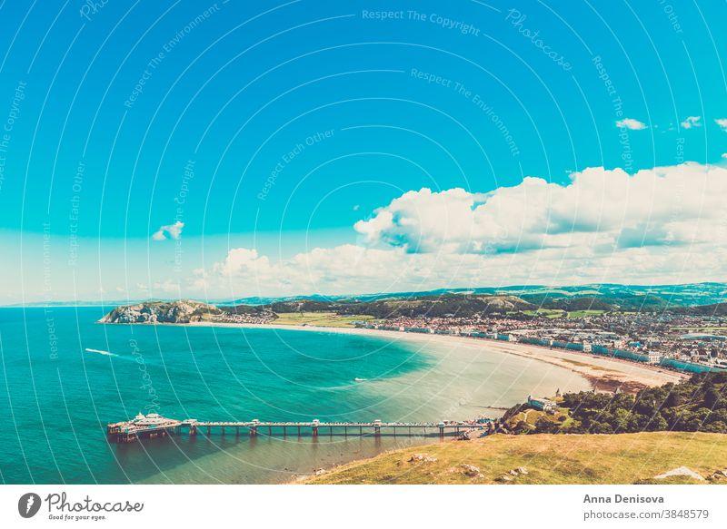 Llandudno Sea Front in North Wales, United Kingdom llandudno beach wales coastline uk britain england united kingdom landscape hotels buildings bb house sea