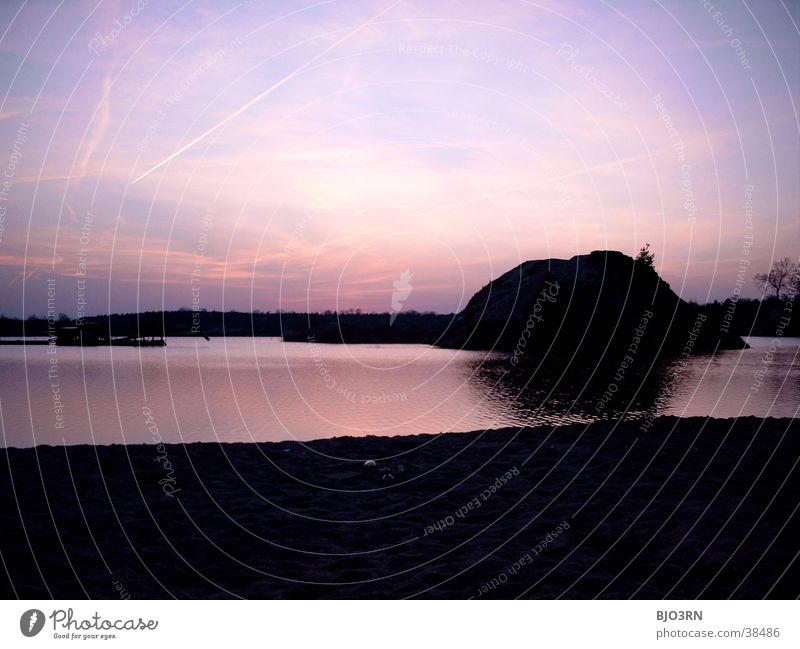Sky Water Red Black Mountain Lake Pink Romance Hill Industrial Photography Dusk Excavator Body of water Lake Baggersee Industrial site