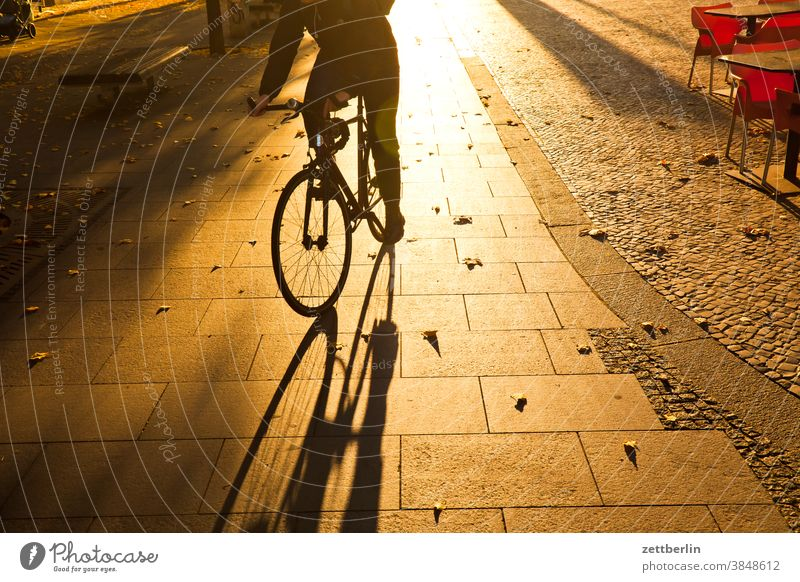 Bicycle in backlight Evening Architecture Berlin Sidewalk Office city Germany Twilight Cycle path Capital city House (Residential Structure) Sky downtown Middle