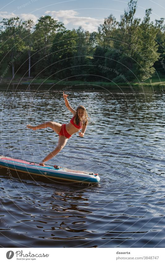 baby, dont fall Sunlight forest Midsummer Summer vacation Vacation & Travel Trip Adventure Positive Joy Leisure and hobbies Feminine Cute woman puddle river