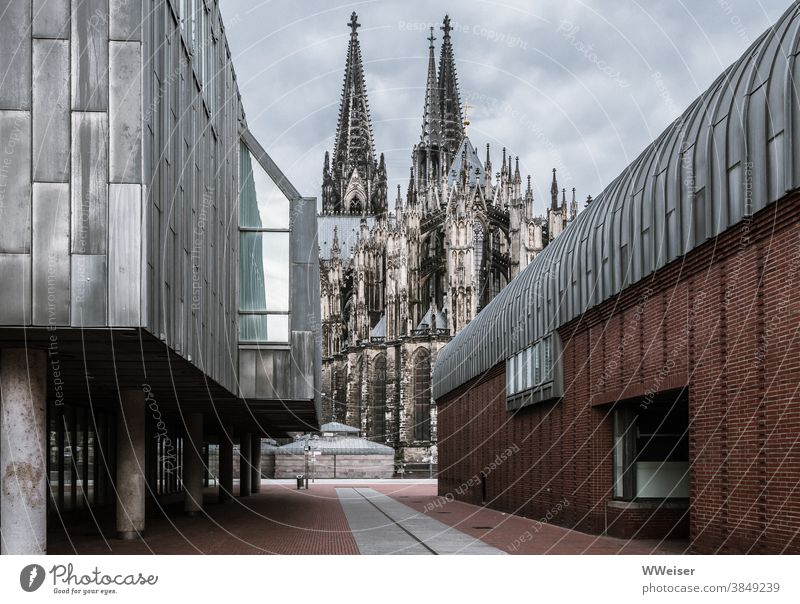 Culture, art and church in Cologne Dome Museum museum ludwig cloudy Thunder and lightning Street Worth seeing Rhine Architecture Tourist Attraction Landmark