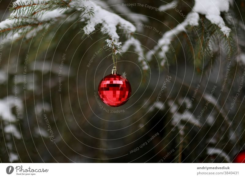Christmas ball with a garland hanging on Christmas tree. Merry Christmas and Happy New Year. selective focus branch bright celebration christmas decor design