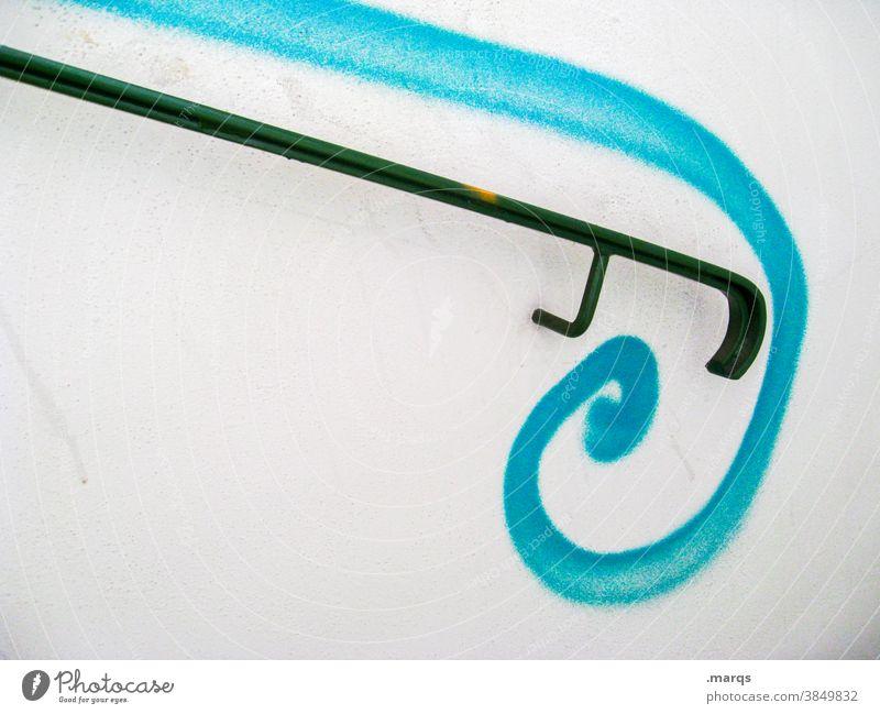 Railing with curlicue Banister Decoration Curlicue Black Blue White Graffiti stylish Aesthetics