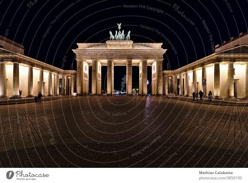 Brandenburg Gate at night with artificial light germany brandenburg gate berlin monument famous statue culture symbol landmark architecture capital old urban