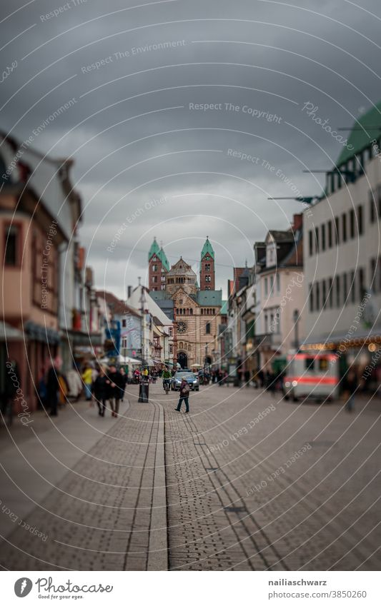Speyer city Maximilian Street Exterior shot Colour photo Tourism Vacation & Travel Moody Dome Church Old town Town Rhineland-Palatinate Tilt-Shift Life frantic