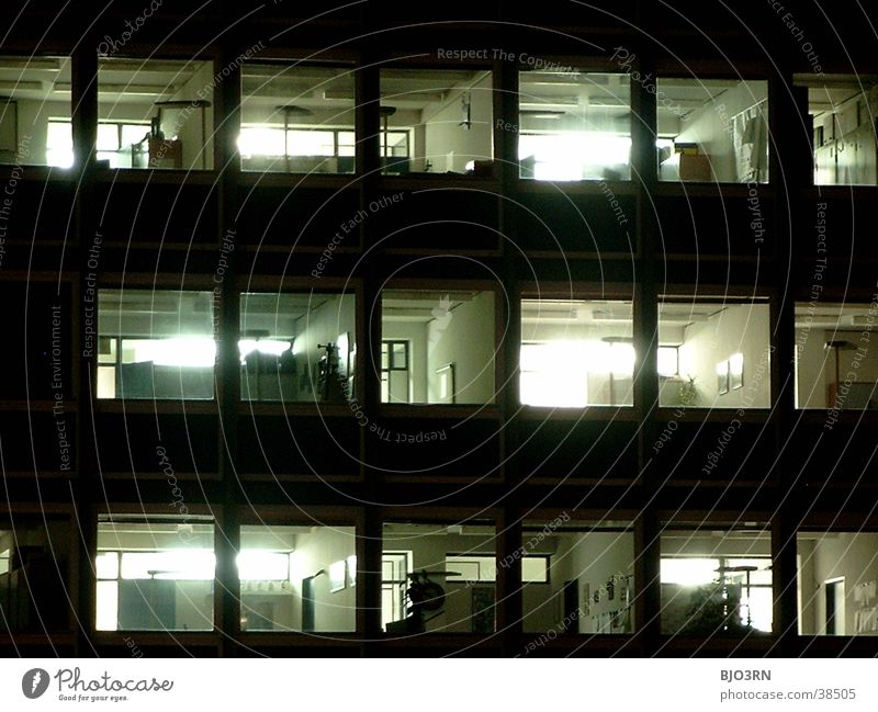night shift Office building Night Dark Light House (Residential Structure) Building Architecture Shadow