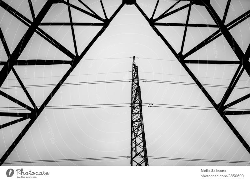 High voltage pylons and power lines Background blue cable chimney cooling tower danger distribution dutch electric electrical electricity energy engineering
