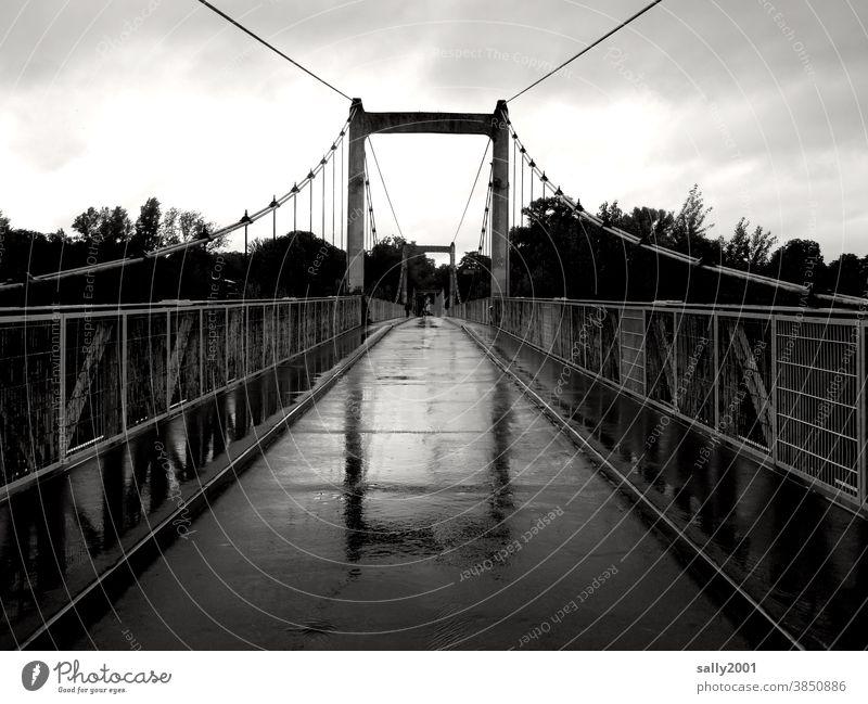 rainy override... Bridge Rain pedestrian bridge rail Suspension bridge Asphalt Narrow Bad weather Wet reflection Reflection Lanes & trails Puddle Street