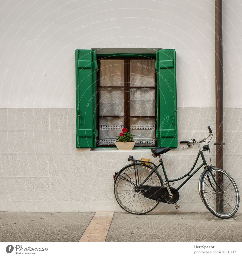 Window with bicycle Bicycle Wall (building) House (Residential Structure) Wall (barrier) Exterior shot Deserted Building Parking Copy Space top
