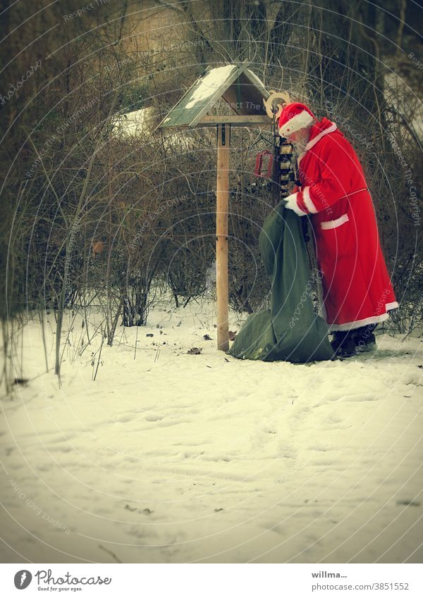 santa claus is good to fuck Santa Claus Sack bird house Feeding gifts Snow winter Christmas Feed the birds mission Santa's cap Santa Claus Coat Winter