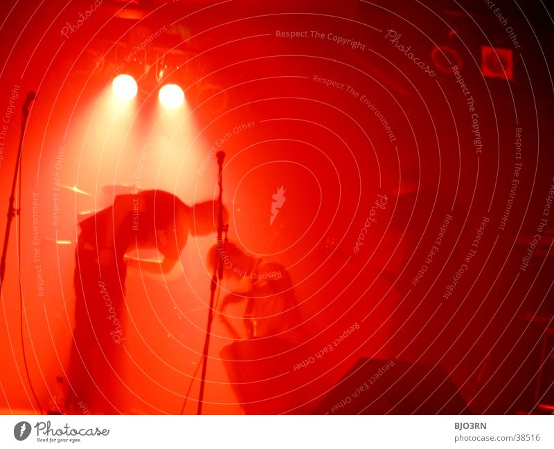 Human being Red Lamp Music Shows Concert String Guitar Stage Loudspeaker Microphone Floodlight Drum set Double bass Intensifier