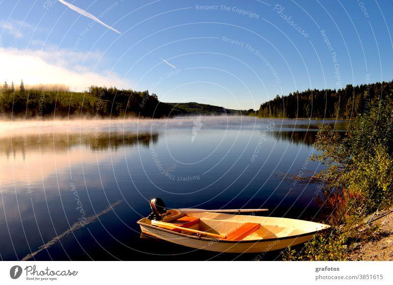 Swedish morning boat Morning Fog Water Ocean Lake ship Sun Sunrise Forest Swede Scandinavia Fisherman fish Fishing boat Sky Nature Fishing (Angle) Summer