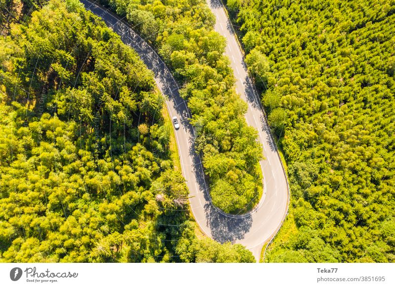 an forest street curve with a speeding car from above curvy street forest from above street from above green white white cabrio trees