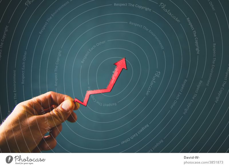 Increase - things are looking up Arrow enhancement Upward Success successful Share Career Positive Breach upward trend