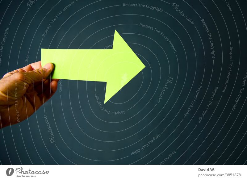 green arrow points forward / straight ahead Arrow Green Right ahead at the front Trend-setting Environment Future Success Forwards sustainability Climate change