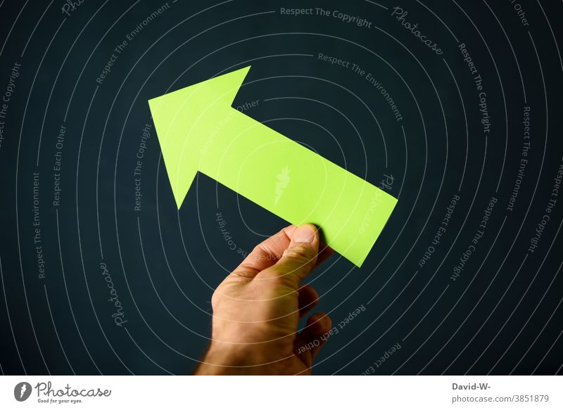green arrow points upwards - tendency rising Arrow Green Rising Upward Success Environment Environmental protection Sustainability Direction Above Hand