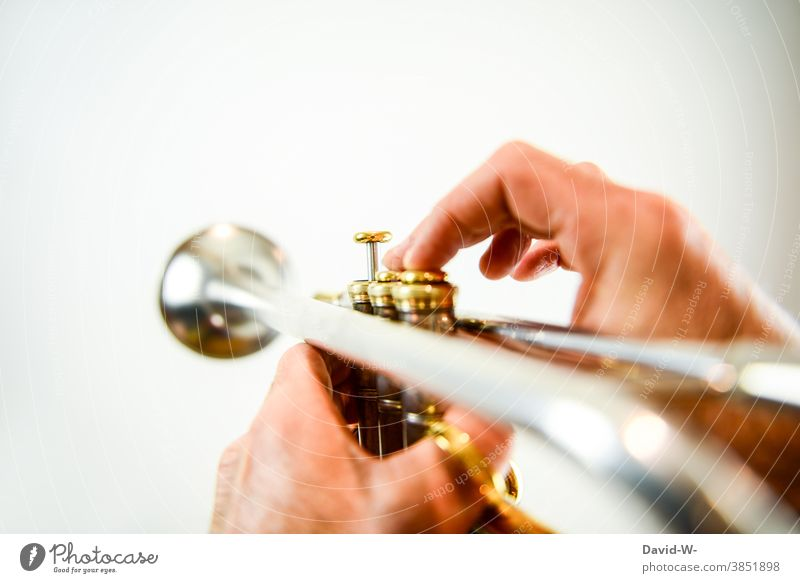 Trumpeter plays with his instrument Musician Musical instrument musical Sound Playing Make music Culture Leisure and hobbies Practice