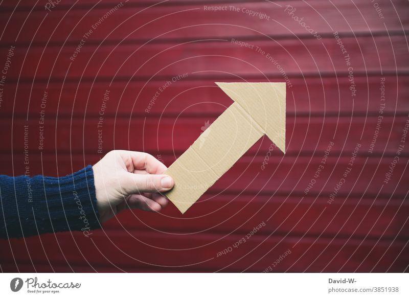 Arrow points upwards Success Upward rise ascending Positive Development Hand Above Indicate Direction Career Future