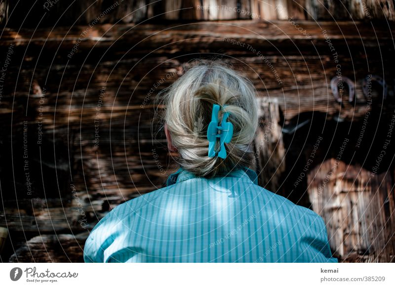 Woman with hair clip in hair from behind in front of wooden wall Lifestyle Human being Feminine Adults Hair and hairstyles Back 1 45 - 60 years Wall (barrier)
