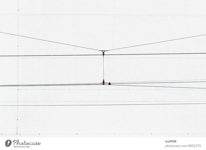 Tramway overhead contact line - under pressure Overhead line Cable power cable Minimalistic Industry Electricity Transmission lines Wire Line Energy industry