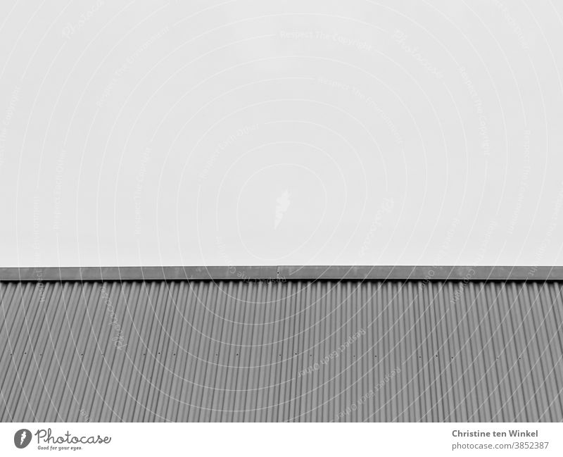 Grey ribbed facade of a building with a flat roof, photographed against the bright sky. View from below. Black and white Facade corrugated Cladding