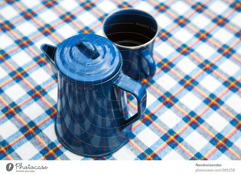 Vacation & Travel Blue White Relaxation Line Beautiful weather Nutrition Beverage Stripe Coffee Joie de vivre (Vitality) Camping Breakfast Crockery Fragrance