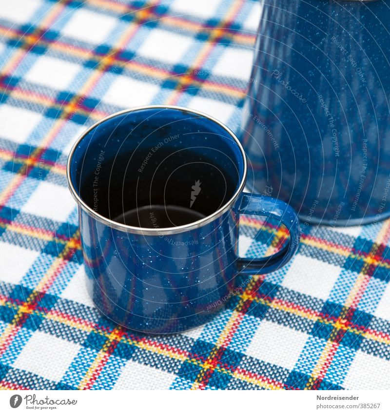 Sheet metal on pattern Nutrition To have a coffee Picnic Coffee Crockery Cup Lifestyle Camping Summer Friendliness Blue Vacation & Travel Break Coffee cup