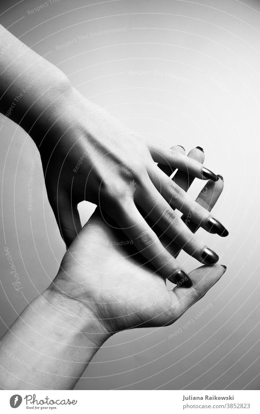 Hands in black and white hands Black & white photo Woman Human being Fingers White Shadow Gray Feminine Skin Youth (Young adults) pretty Light Studio shot