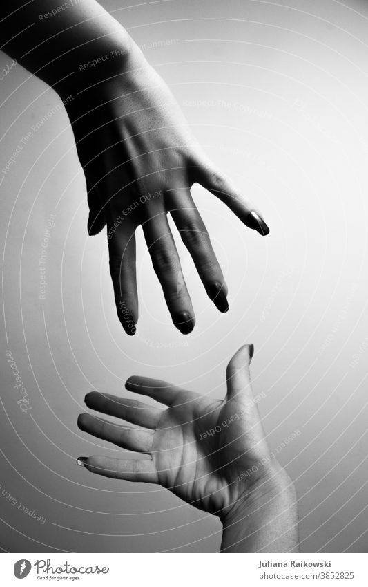 Hands that want to touch each other hands Fingers Human being Detail Woman Trust Touch Friendship Adults Sympathy Feminine Together 2 Love Safety (feeling of)