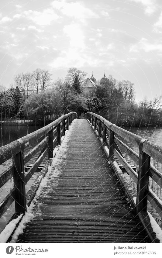 Bridge in snow Snow Winter Ice Cold Frozen Church Freeze White Frost Exterior shot Nature Day Black & white photo Tree Environment Deserted Landscape Sky