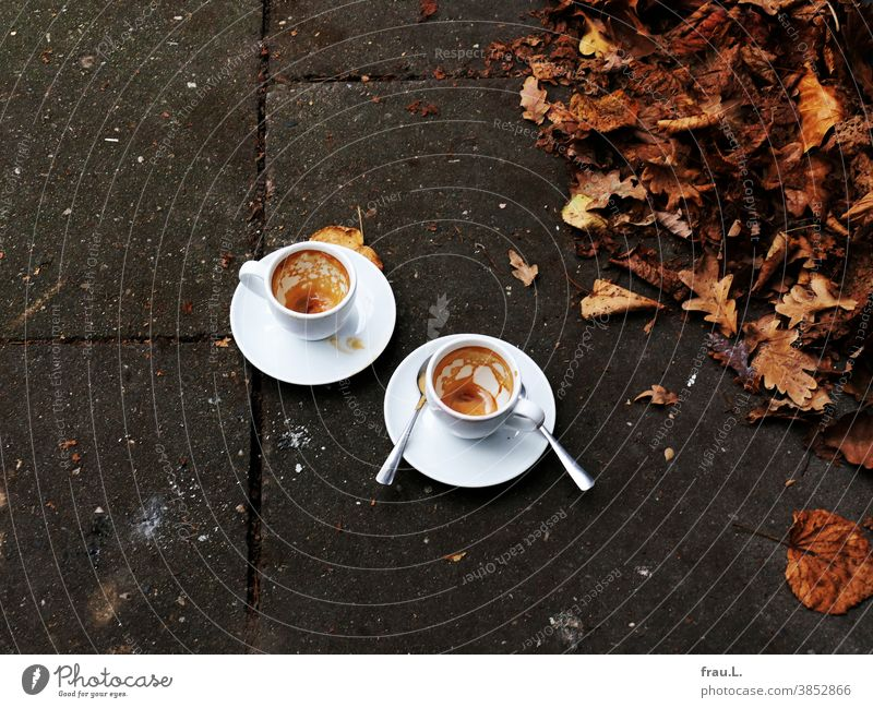 In November 2020: Street café Espresso Cup Beverage Coffee Coffee cup leaves Autumn Footpath Spoon espresso cup lockdown Pandemic - disease corona corvid-19