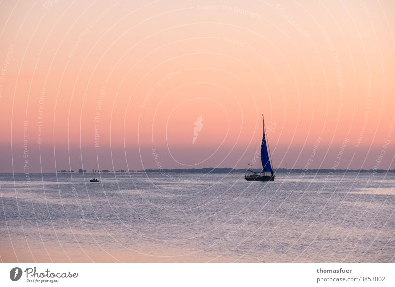Sailing boat in the evening mood, dusk approaching in front of a colorful sky vacation melancholy Romance Sailboat Ocean Vacation & Travel Sky Horizon Sunset