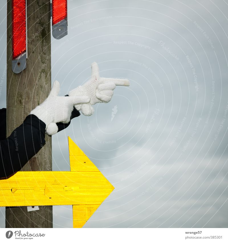 BY LAW. Arm Hand Fingers Signs and labeling Arrow Multicoloured Yellow Gray Red Black White Trend-setting Right Direction Parts of body Gloves Turn off turn