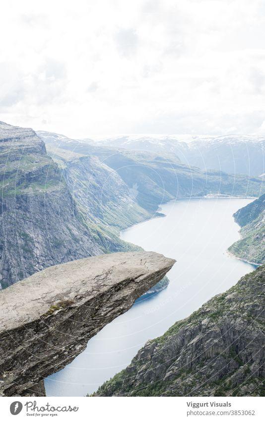 "The famous ""tongue"" in Trolltunga trolltunga Norway Landscape Fjord Mountain Beautiful Clouds Nature Rock Scandinavia Hiking Vacation & Travel Water"