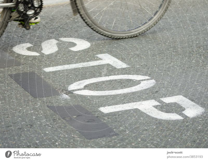 STOP also for cyclists Traffic infrastructure stop Street Mobility Driving Means of transport Typography Word stencil Stencil letters Gray Cycling Bicycle