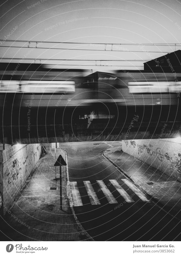 The train and the zebra crossing nobody time track loneliness life black and white atmosphere bridge night darkness rail Rail transport Atmosphere Architecture
