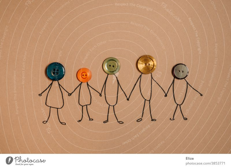 Matchstick man with heads made of different coloured buttons. Diversity, family, cohesion. Family Attachment diversity in common fellowship concept