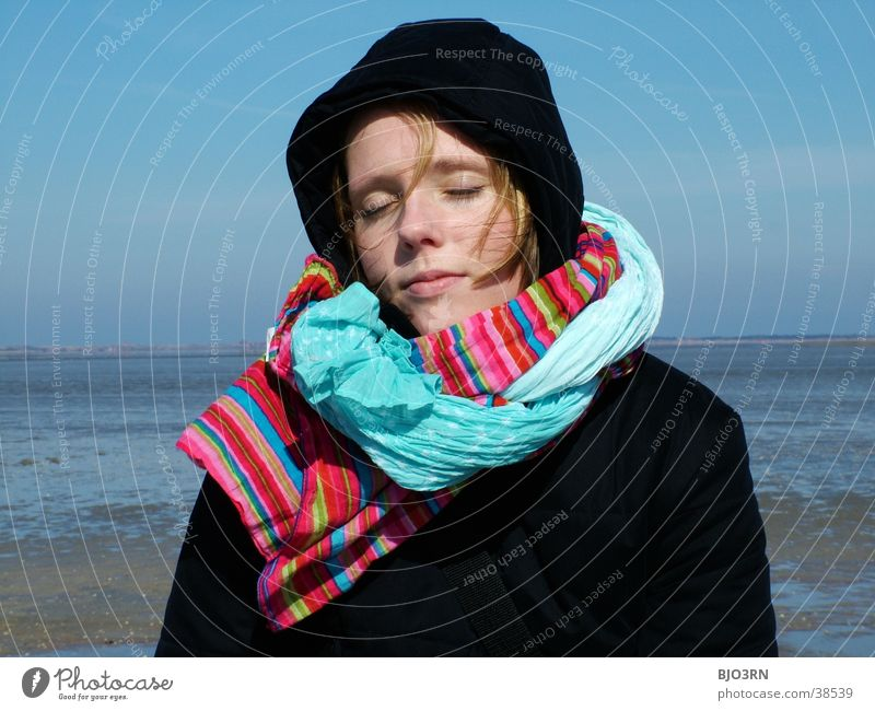 pure relaxation Scarf Multicoloured Low tide Gaudy Waves Neckerchief Woman Cap Portrait photograph Ocean Lake Vacation & Travel To enjoy Clouds Human being