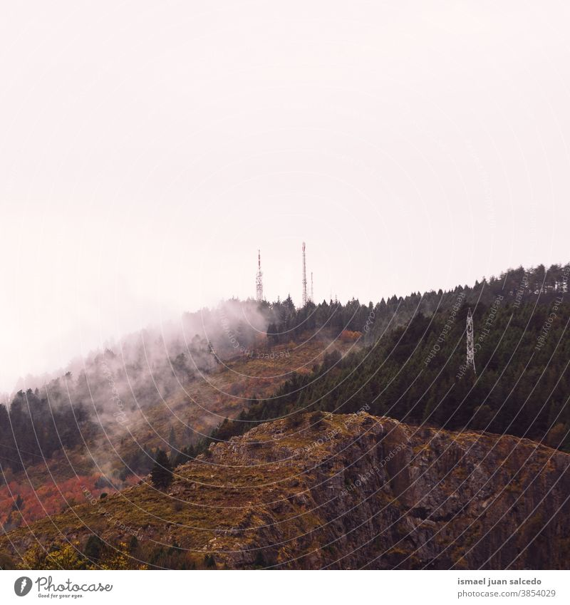 mountain with autumn colors in autumn season, Bilbao, Spain hill landscape view nature Rural Scene trees clouds fog foggy morning foggy day forest mist scene
