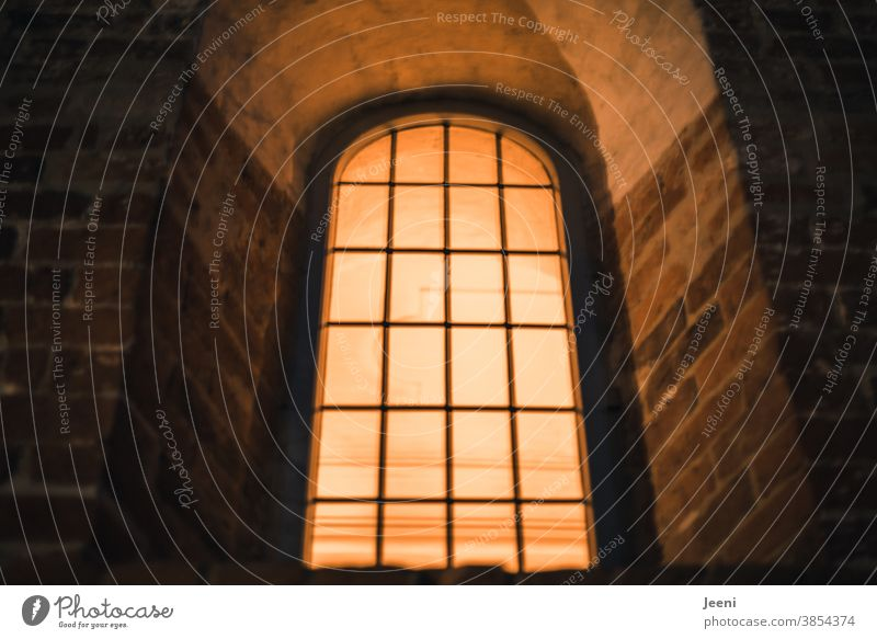 Brightly lit church window in the evening Church Church window Evening warm Moody Religion and faith Colour photo Church service house of God Christianity Light